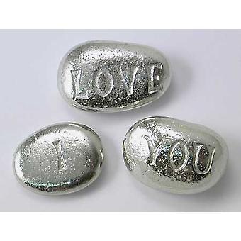 I love You - Pewter Pebbles (Set of 3)