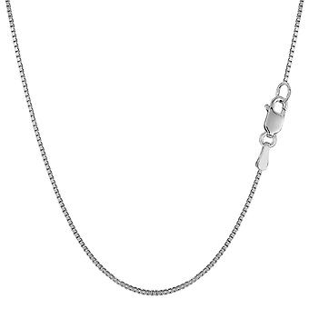 10k White Solid Gold Mirror Box Chain Necklace, 0.8mm