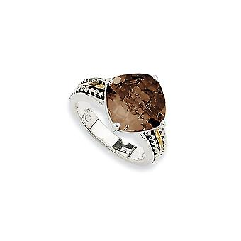 Sterlingsilber antik finish mit 14k 6.80Smokey Quarz Ring - Ring-Größe: 6 bis 8