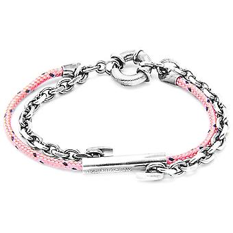 Anchor and Crew Belfast Silver and Rope Bracelet - Pink