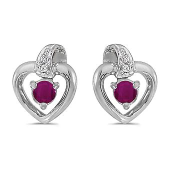 14k White Gold Round Ruby And Diamond Heart Earrings