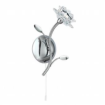 Searchlight 8281-1CC Bellis Chrome and Glass Flower Wall Light