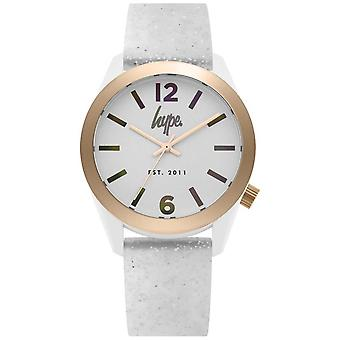 Hype | Womens White Glitter Silicone Strap | Silver Dial | HYL004S Watch