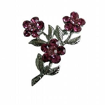 Pink Crystals Flower w/ Silver Plated Stem & Leaf Brooch Pin