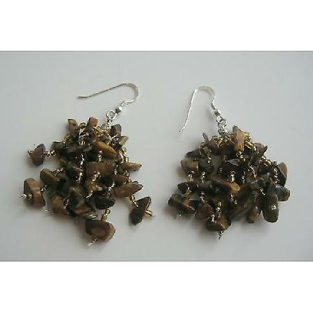 Tiger Stone Chip Sterling Silver w/ Tigger Eye Nugget Chip Earrings
