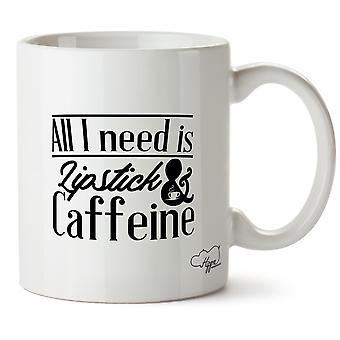 Hippowarehouse All I Need Is Lipstick & Caffeine Printed Mug Cup Ceramic 10oz