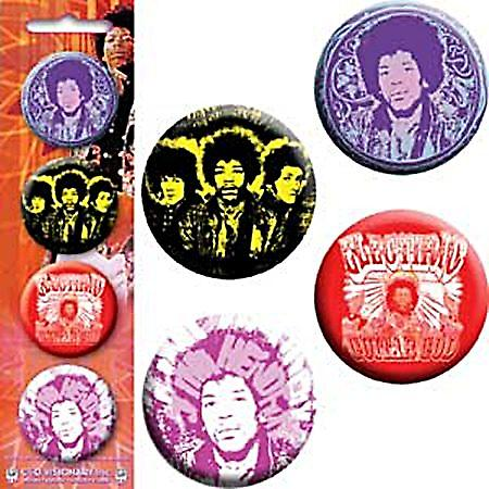 Jimi Hendrix strip of 4 round Pin Badges (cv)