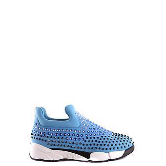 Pinko Light Blue Nylon Slip On Sneakers