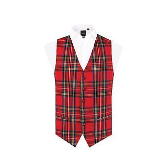 Dobell Mens Red Tartan Waistcoat Regular Fit 5 Button