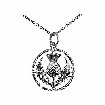 Silver 19mm Scottish Thistle Pendant with a twisted wire surround with a rolo Chain 14 inches Only Suitable for Children