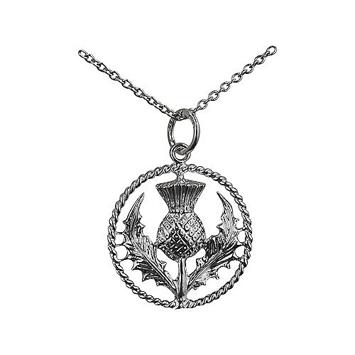 Silver 19mm Scottish Thistle Pendant with a twisted wire surround with a rolo Chain 20 inches