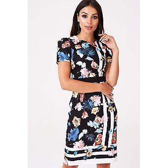 Little Mistress Rossy Floral Stripe Dress