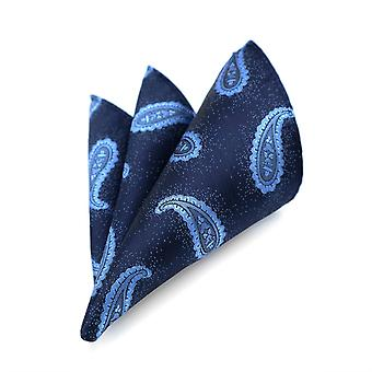 Baby blue & navy paisley two tone paisley pocket square