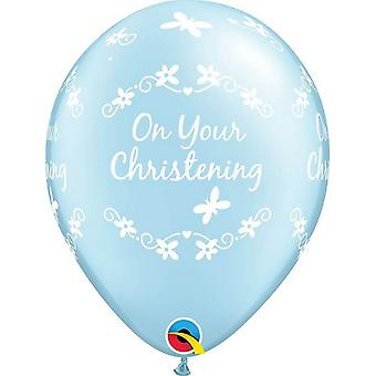 Qualatex 11 Inch Latex Butterflies Christening Balloons (Pack Of 6)