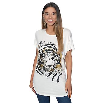 KRISP  Ladies Women Oversize Batwing Shiny Animal Tiger Foil Print Long Top T Shirt