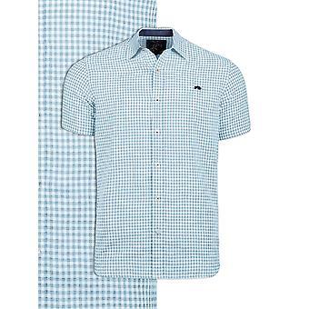Short Sleeve Linen Look Gingham Shirt - Sky Blue