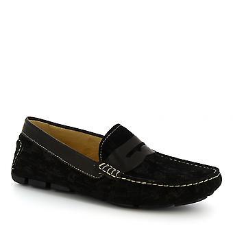 Leonardo Shoes Men's handmade slip-on driving loafers in black suede leather