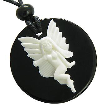 Fairy Angel White Bone and Black Agate Magic Circle Pendant Necklace