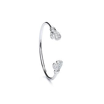 Eternity Sterling Silver Baby Cubic Zirconia Boxing Glove Bangle