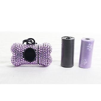 Luz púrpura cristal de diamantes de imitación hueso en forma de residuos bolsa de dispensador