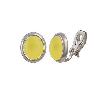 Eternal Collection Minuet Honey Yellow Quartz Silver Tone Stud Clip On Earrings