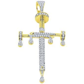 925 sterling silver micro Pave pendant - NAGEL CROSS gold