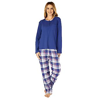 Slenderella PJ4218 Women's Woven Plaid Cotton Pyjama Set