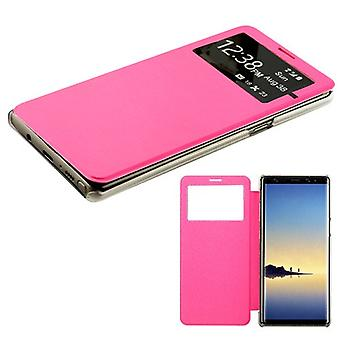 MYBAT Hot Pink Silk Texture MyJacket (with Transparent Frosted Tray)(968) for Galaxy Note 8