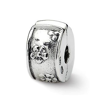 925 Sterling Silver Antique finish Reflections Hinged Floral Clip Bead Charm