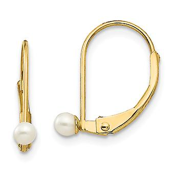 14k Yellow Gold Polished Leverback 3mm Freshwater Cultured Pearl for boys or girls Earrings - Measures 13x4mm