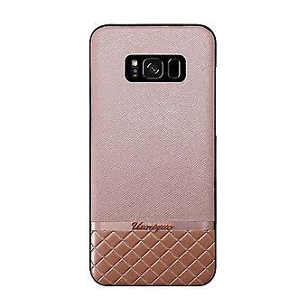 Samsung Galaxy S8+ Case Rose Pink Metallic Saffiano Hard Shell Pink