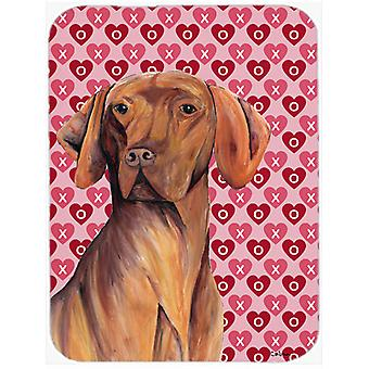 Vizsla Hearts Love and Valentine's Day Portrait Glass Cutting Board Large