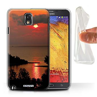 STUFF4 Gel/TPU Case/Cover for Samsung Galaxy Note 3/Red Sun/Sunset Scenery