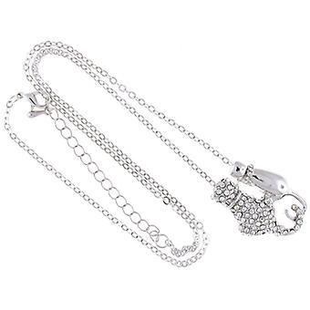 Shiny Silver and Clear Crystal Pair of Cats Pendant Chain
