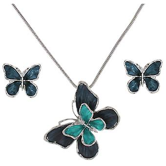 Silver and Blue Enamel Butterfly Pendant and Earrings Set