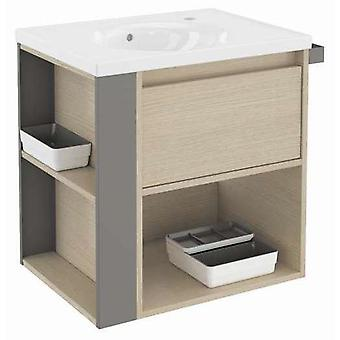 Bath+ 1 Drawer Cabinet + Shelf With Porcelain Basin Oak-Grey 60CM
