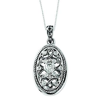Sterling Silver Antiqued CZ Because Of You 18 tum halsband