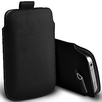 ONX3 (Black) Gionee M6 Mirror Case Slip In Pull Tab Faux Leather Pouch Case Cover