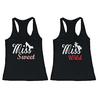 BFF Tank Tops Miss Wild and Miss Sweet with Shoes Matching Shirts for Best Friends
