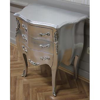 chest of drawers leaved silver with silver brass