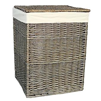 Large Antique Wash Square Laundry Basket