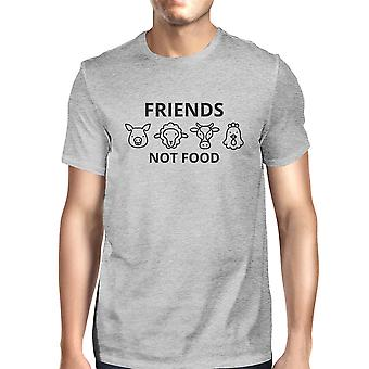 Friends Not Food Mens Gray Roundneck Cotton Graphic Top Gift Ideas