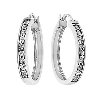 Diamond Hoop Earrings 1/10 Carat (ctw) in Sterling Silver (1 Inch)