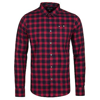 Weekend Offender Demille Navy & Ruby Check Long Sleeve Shirt