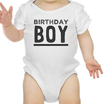 Birthday Boy White Onesie Cotton 1st Birthday Baby Boy Tee Shirt