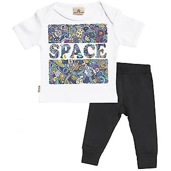 Spoilt Rotten Space Print Baby T-Shirt & Baby Jersey Trousers Outfit Set