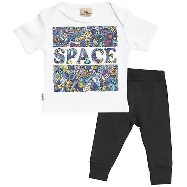 Verwend rotte ruimte Print Baby T-Shirt & Baby Jersey broek Outfit Set