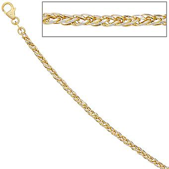 Plait chain 585 yellow gold white gold bicolor 45 cm gold chain necklace carabiner