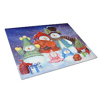 Merry Christmas From Us All Snowman Glass Cutting Board Large