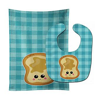 Carolines Treasures  BB6843STBU Peanut Butter Toast Baby Bib & Burp Cloth